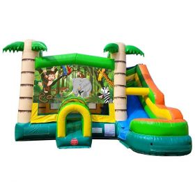 Modular Tropical Water Slide Bounce House Combo with Blower and Jungle Art Panel
