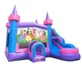 Modular Pink Castle Water Slide Bounce House Combo with Blower and Princess Art Panel