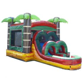 Kids Water Slide Bounce House Combo with Blower, Tropical Fire Marble