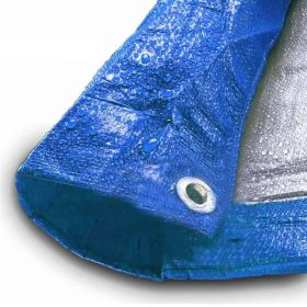12' x 16' Blue & Silver Multi-Purpose Water Resistant Poly Tarp Cover