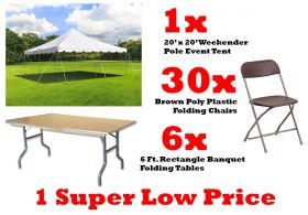 Pole Tent Party Event Package with 20' x 20' Pole Tent, 6ft Folding Tables and 30 Folding Chairs