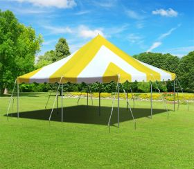 20 x 20 Premium Canopy Pole Party Tent - Yellow and White