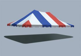 20' x 30' Premium Pole Party Tent Top - Red, White and Blue