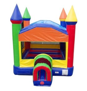 USED Modern Rainbow Castle Bounce House with Blower