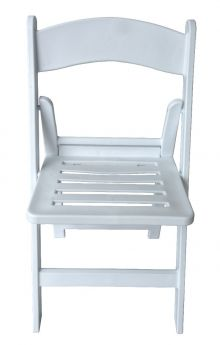 Slatted White Resin Folding Chairs