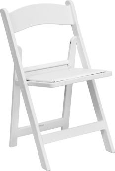 USED White Resin Folding Chairs