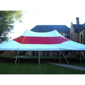 USED 30 'x 30' Party Pole Tent, Red and White Striped Top - A Grade