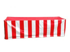 Vinyl 8' Banquet Table Cover, Red & White