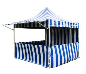 10' x 10' 50mm Speedy Pop-up Carnival Tent - Blue/White Striped