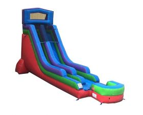USED 18' Modular Retro Rainbow Inflatable Water Slide with Blower