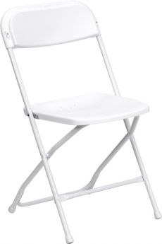 USED White Poly Folding Chairs