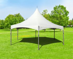 20' Hexagon High Peak Frame Party Tent, White