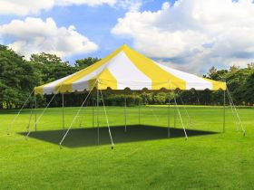 20' x 20' Weekender Standard Canopy Pole Tent - Yellow & White