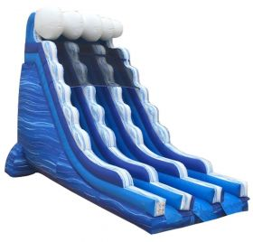22' Blue Marble Wave Dual Lane Inflatable Water Slide with Blower