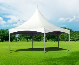 30' Hexagon High Peak Frame Party Tent, White