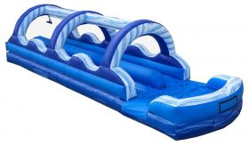 35' Blue Marble Dual Lane Inflatable Slip n Slide with Blower - With Velcro