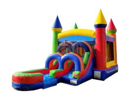 Kids Modern Rainbow Water Slide Bounce House Combo with Blower