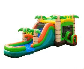 Mega Tropical Water Slide Bounce House Combo with Blower