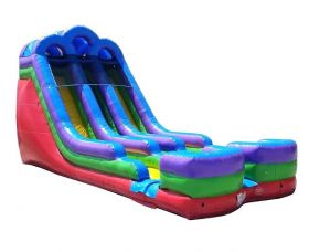 18' Retro Rainbow Double Bay Inflatable Water Slide with Blower