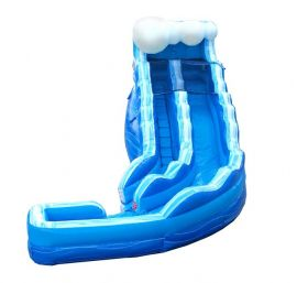 17' Blue Marble Wave Curved Inflatable Water Slide with Blower