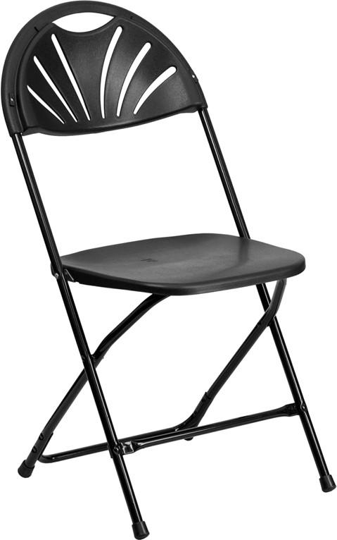 24 Black Plastic Folding Chairs Fan Back Contour Seat. Premium, Commercial,  Heavy