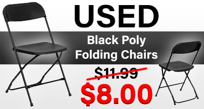Used Black Poly Folding Chairs