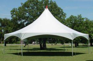 high peak frame tent set up in a park