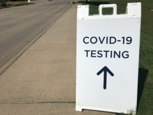 What equipment is needed to set up an outdoor drive thru COVID testing site?